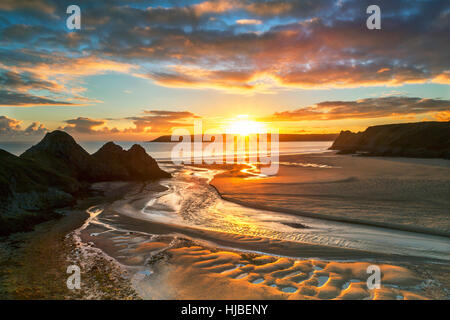 Three Cliffs Bay, Gower, Peninsula, South Wales, UK - Stock Photo
