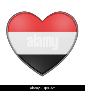 3d rendering of a Yemen flag on a heart. White background - Stock Photo