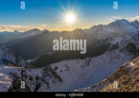 Passo Giau or Giau Pass at sunset near Cortina d`ampezzo in the Italian Dolomites - Belluno - Italy - Stock Photo