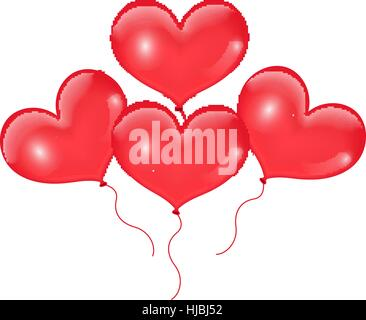 Realistic 3D red balloons in the shape of heart. Isolated on white background. Valentines Day. Vector illustration. - Stock Photo