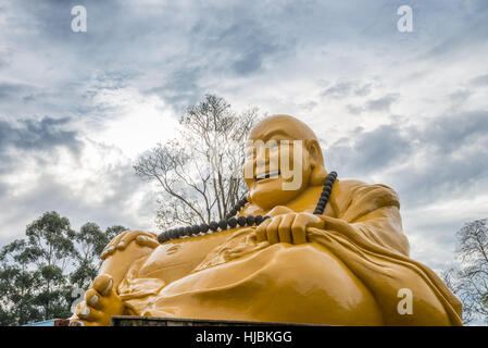 Foz do Iguazu, Brazil - july 8, 2016: The Buddhist temple with giant Buddha statue in the garden at Foz do iguacu, - Stock Photo