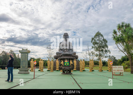 Foz do Iguazu, Brazil - july 8, 2016: Buddha statue an amulet of Buddhism religion at the temple in Foz do Iguacu, - Stock Photo