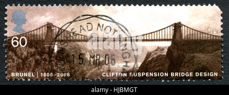 GREAT BRITAIN - CIRCA 2006: A used postage stamp from the UK, depicting an image of Clifton Suspension Bridge orginally - Stock Photo