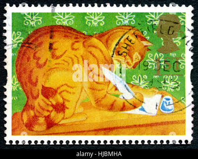 GREAT BRITAIN - CIRCA 1994: A used postage stamp from the UK, depicting an illustration of a Ginger or Marmalade - Stock Photo