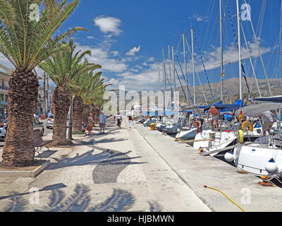 Yachts moored along Argostoli quay seafront in Kefalonia, Greece - Stock Photo