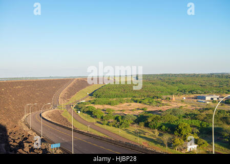 Foz do Iguacu, Brazil - july 10, 2016: The Itaipu dam viewpoint in Foz do Iguazu in Brazil - Stock Photo