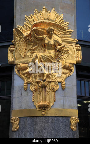 Gold-Statue at Commerzbank building, Leipzig, Saxony, Germany, Europe - Stock Photo