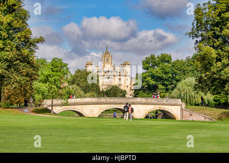St John's College and Trinity College Bridge on the River Cam, Cambridge, England, UK - Stock Photo