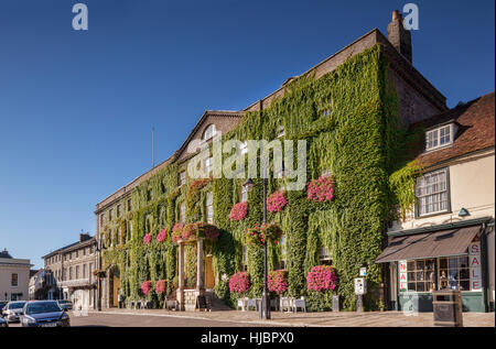 Angek Hotel, Market Square, Bury St Edmunds, Cambridgeshire, England, covered in Virginia Creeper. - Stock Photo