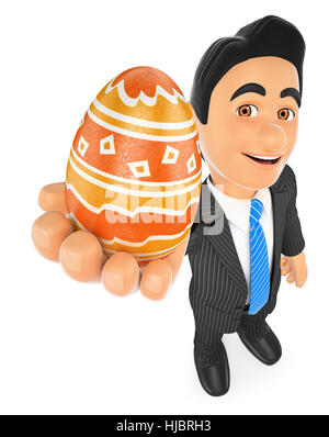 3d business people illustration. Businessman with a decorated easter egg. Isolated white background. - Stock Photo
