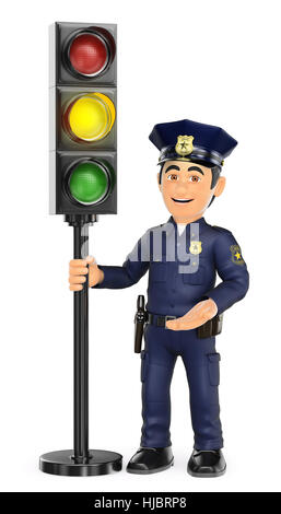 3d security forces people illustration. Police with a traffic light in amber. Isolated white background. - Stock Photo