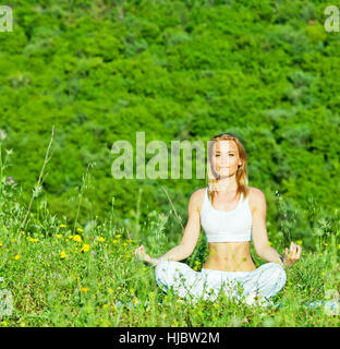 lady, park, summer, summerly, yoga, young, younger, woman, humans, human - Stock Photo