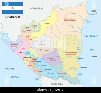 Nicaragua Political Map Stock Photo Royalty Free Image - Nicaragua political regions map