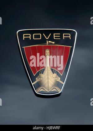 Rover car Viking ship bonnet badge on a P6 (2000, 220, 3500 V8) classic car - Stock Photo
