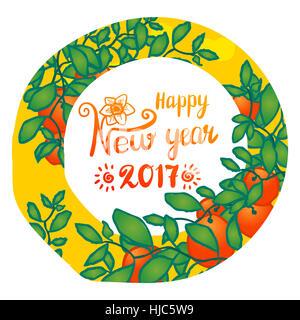 Chinese New Year, 2017. Branches of mandarin orange fruits. Hand drawn sketchy cartoon clip-art in circle, vector - Stock Photo