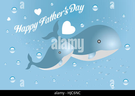 Cute card for Fathers day with father and son of whales swimming together in the ocean with swarms of little fishes, - Stock Photo