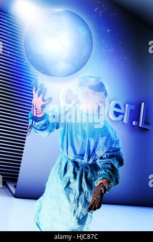 Girl in virtual reality headset interacting with digital floating planet earth - Stock Photo