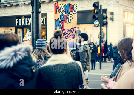 21st of january 2017, march of women at oxford street, London, UK - Stock Photo