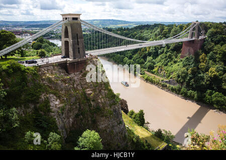Clifton Suspension bridge, Avon Gorge and River Avon, Bristol, United Kingdom - Stock Photo