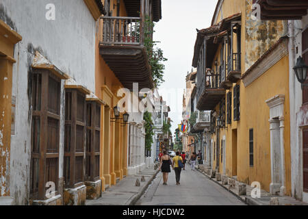 Colonial architecture in Cartagena, Colombia - Stock Photo