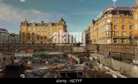 COPENHAGEN, DENMARK - DECEMBER 23, 2016. Construction site for a new metro station, on town hall square. - Stock Photo