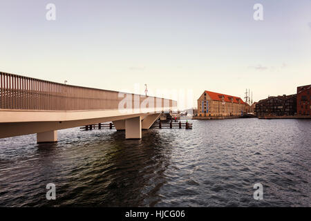 The inner harbour bridge (Inderhavns broen) connecting the districts of Nyhavn and Christianshavn. Copenhagen, Denmark. - Stock Photo