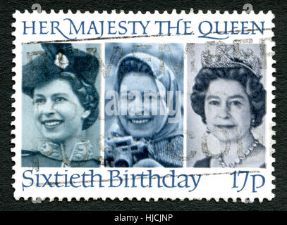 GREAT BRITAIN - CIRCA 1986: A used postage stamp from the UK, celebrating the 60th Birthday of Queen Elizabeth II, - Stock Photo