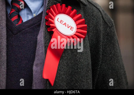 London, UK. 23rd January, 2017. A Vote Leave rosette worn by Robin Grey, UKIP Parliamentary candidate for Christchurch, - Stock Photo