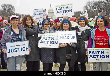 New York staff and supporters of the National Council of Jewish Women participate in the Women's March on Washington, - Stock Photo