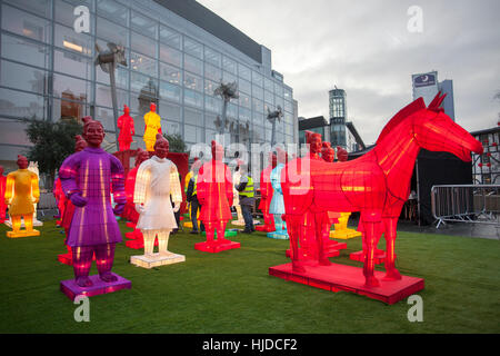Manchester, UK. 24th Jan 2017.  'The Lanterns of the Terracotta Warriors' guard the streets of Manchester City Centre - Stock Photo