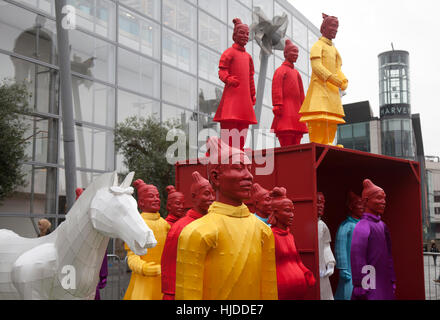 Chinese New Year, Manchester. 24th Jan 2017.  'The Lanterns of the Terracotta Warriors' guard the streets of Manchester - Stock Photo