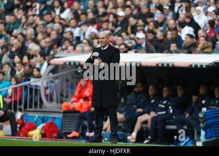 Madrid, Spain. 21st Jan, 2017. Zinedine Zidane (Real) Football/Soccer : Spanish 'La Liga Santander' match between - Stock Photo