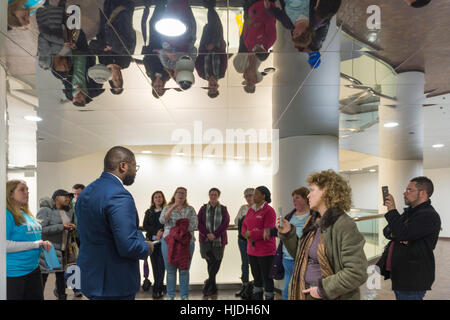 Melville, New York, USA. 24th January 2017. Members of Together We Will Long Island speak with GARRETT ARMWOOD, - Stock Photo