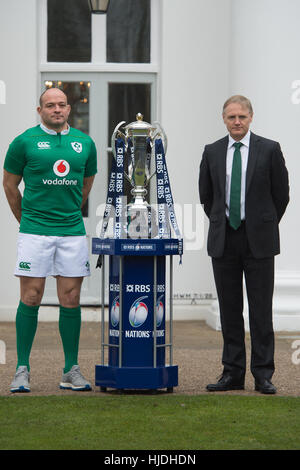 London, UK. 25th January 2017. Rory Best and Joe Schmidt attend the launch of the RBS 6 Nations Championship at - Stock Photo