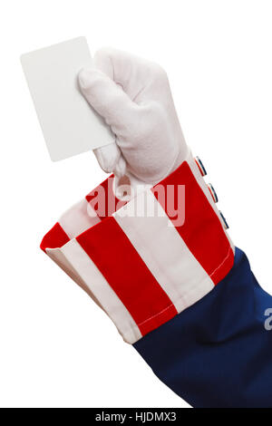 President Holding Up a Blank Card Isolated on White Background. - Stock Photo