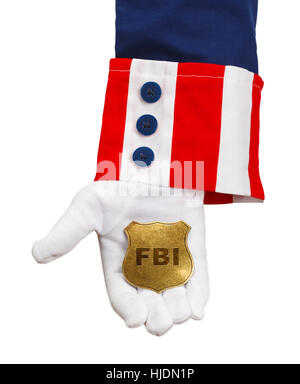 President Holding FBI Badge Isolated on White. - Stock Photo