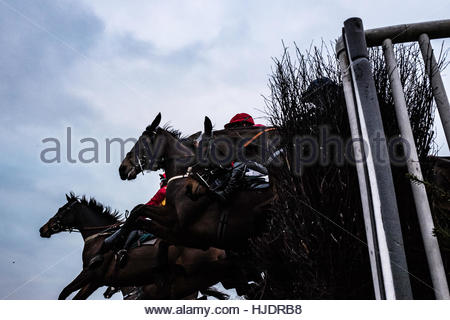 Friars Haugh, Kelso, Scottish Borders, UK. 22nd January 2017. Racehorses and jockeys jump while racing during the - Stock Photo