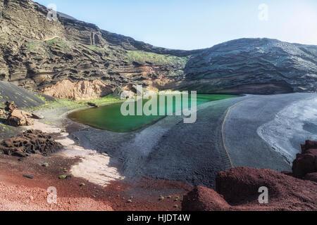 Lago Verde, El Golfo, Yaiza, Lanzarote, Canary Islands, Spain - Stock Photo