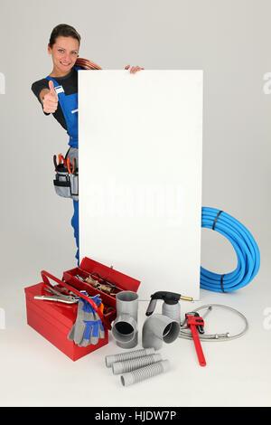 blue, board, beautiful, beauteously, nice, blank, european, caucasian, adult, - Stock Photo