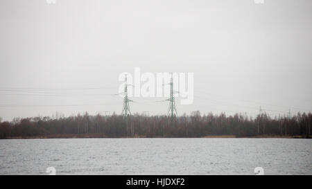 transmitter tower. radar lines with sky in background - Stock Photo