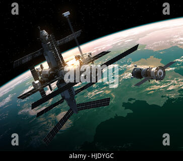 Spacecraft Is Preparing To Dock With Space Station - Stock Photo