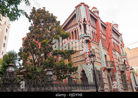 Casa Vicens is a modernist building in Barcelona, Catalonia, Spain, designed by Antoni Gaudi. - Stock Photo