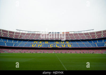 Barcelona, Spain - September 22, 2014: One of the stands displaying Barcelona's motto, Mes que un club, meaning - Stock Photo
