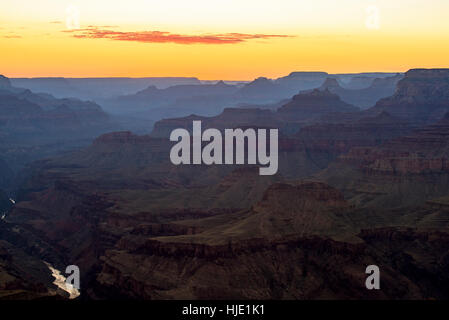 View at sunset from Lipan Point, Grand Canyon National Park, Arizona, USA - Stock Photo