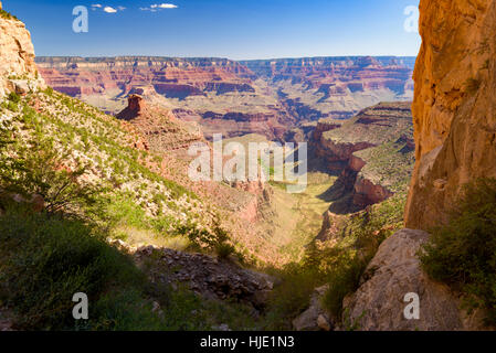 View from Bright Angel Trail, Grand Canyon National Park, Arizona, USA - Stock Photo