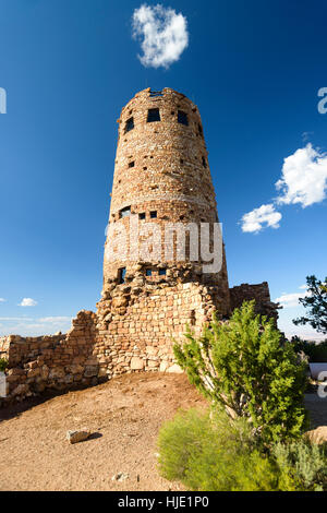 Desert View Watchtower, is a 70-foot-high stone building located on the South Rim of the Grand Canyon National Park, - Stock Photo
