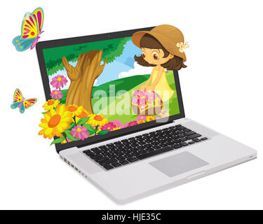woman, office, laptop, notebook, computers, computer, walk, go, going, walking, - Stock Photo