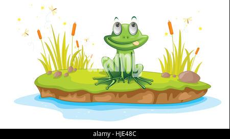 Illustration of  a cartoon frog on white - Stock Photo