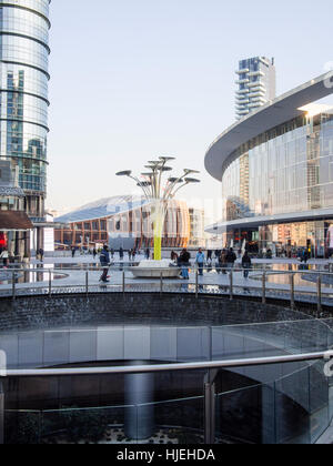 Gae Aulenti piazza and buidings, new architecture in Milan centre, near Porta Garibaldi Train station, known as - Stock Photo