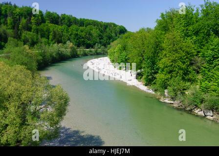 Grünwald: Isartal (Isar Valley), beach, Oberbayern, Upper Bavaria, Bayern, Bavaria, Germany - Stock Photo